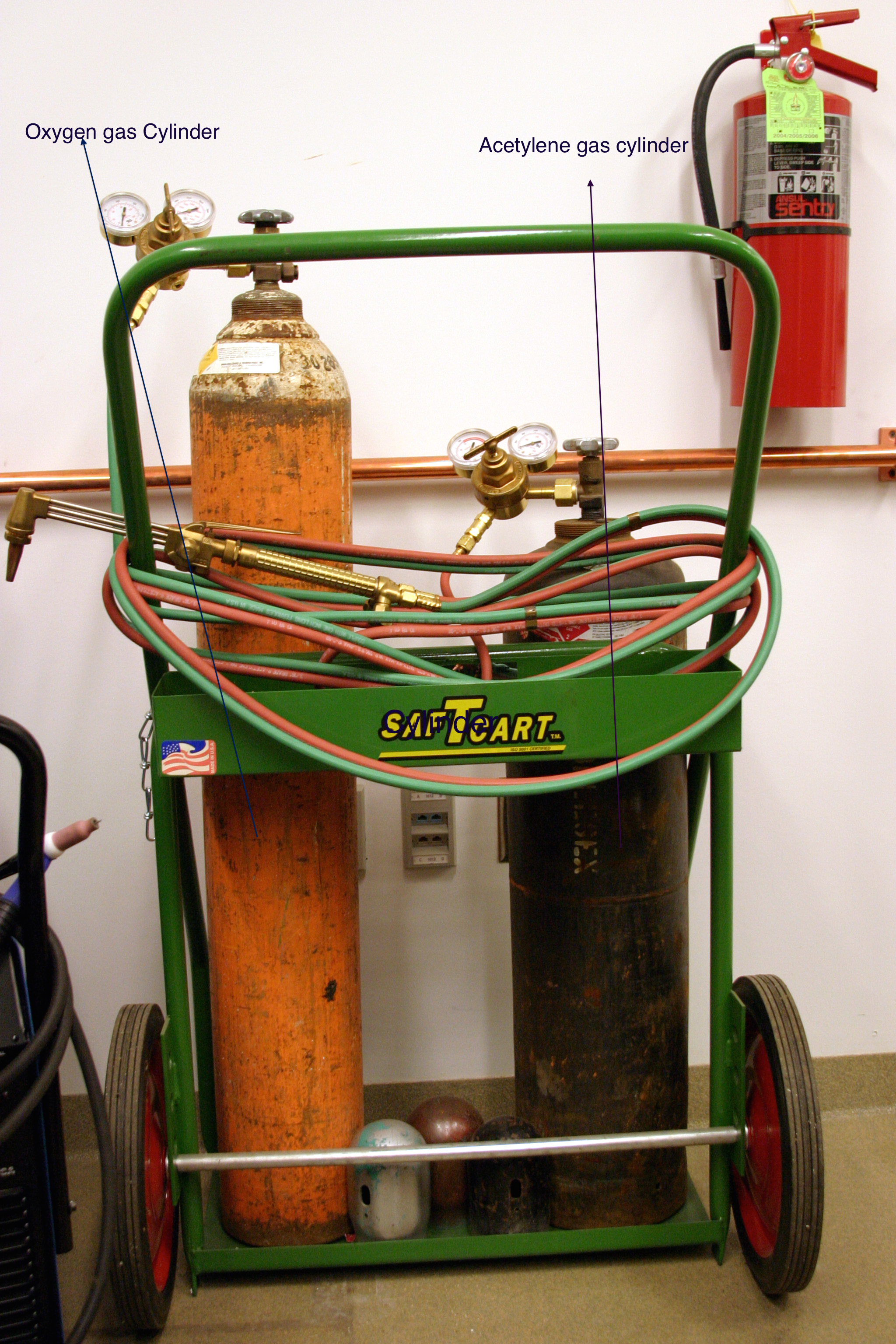 oxygen and acetylene gas set